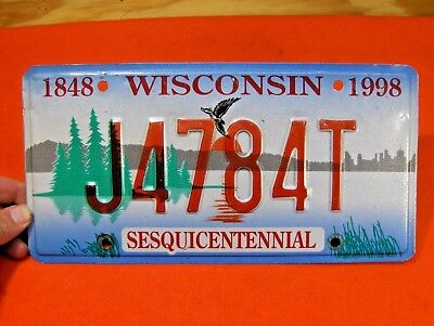 1848-1998 Sesquicentennial Wisconsin Car License Plate Tag 1997-1999  J4784T