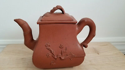 Antique Chinese Yixing Zisha Clay Teapot With Winter 3 Friends