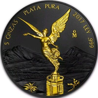 2017 MEXICAN LIBERTAD Ruthenium 5 Oz Silver Coin,24Kt Gold. LAST COIN SOLD OUT.