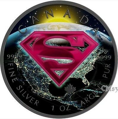 2016 1 Oz Silver Colorized Superman Coin WITH Ruthenium..