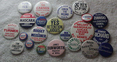 Lot of 22 Vintage Political Pins 70's 80's local and national pinback buttons