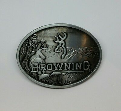 BROWNING Firearms Belt Buckle Grey Hunting Rifle Metal  Rodeo Deer BNS Oval