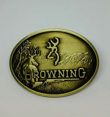 BROWNING Firearms Belt Buckle Brass Hunting Rifle Metal  Rodeo Deer BNS Oval