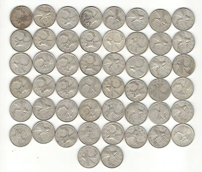 SILVER CANADIAN QUARTERS  (50 coins) 1939 to 1950 (RR)