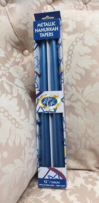 "Two Hanukkah Holiday Judaica Blue Metallic Candles Taper 12"" NEW"