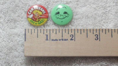 2 Vintage 60s 70s Pinback Button CREATIVE HOUSE Car Freaks are a Gas Smiley Face