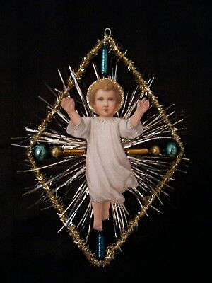 Antique Look Christmas Ornament, CHRIST Child, Glass, Scrap, Tinsel, Hand Made