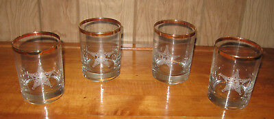 """Set of 4 Highball Glasses With """"Sheriff Indiana Star"""" And Gold Rimmed On Top"""