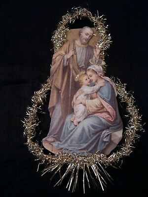Antique Look Christmas Ornament, The HOLY Family, Scrap, Tinsel, Hand Made