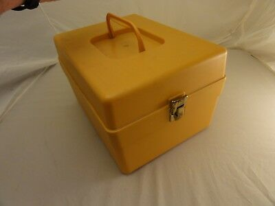 Wilson Wil-Hold Sewing Pattern Box + Dividers Harvest Gold Yellow Brass Clasp
