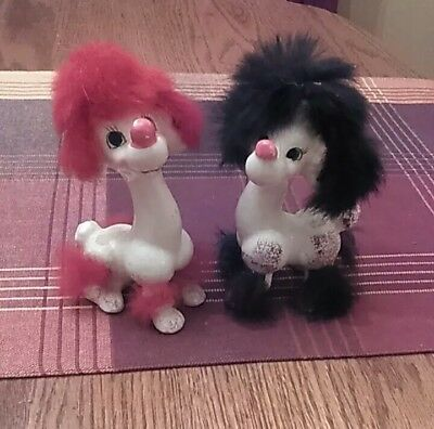 PAIR OF VINTAGE KITSCHY 1960s WHITE CERAMIC DOG FIGURINE WITH FAUX FUR JAPAN