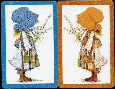 Holly Hobbie Pair Of Swap Cards Girl Holding Flowers (New)