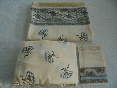 LOUIS NICHOLE Vintage 3 Pc TWIN POMPADOUR SHEET SET