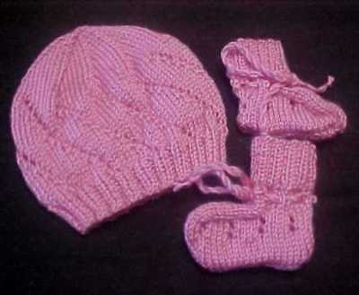 Hand Knitted Baby Beanie And Bootees