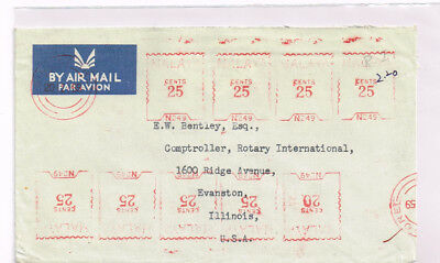 Singapore 1959 airmail cover to US +Rotary Intl +meter X9 +interesting usage