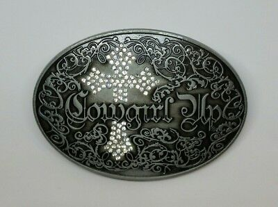 Cowgirl Up Western Belt Buckle Grey Diamantes Metal Rodeo Intricate Oval Cross