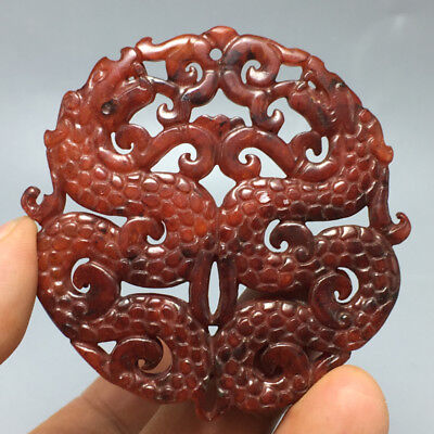 33g Old Chinese natural jade hand-carved delicate ssangyong pendant 43
