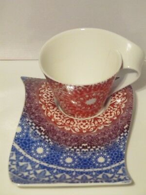 Villeroy & Boch New Wave Caffe Cup/Mug and Party Plate Germany # 1748 New Set