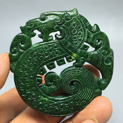 62g Old Chinese natural jade hand-carved delicate ssangyong pendant 50