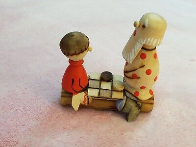 Vintage wooden hand craftd Russian figural folk art 2 people playing tic tac toe