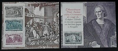 SCARCE 1992 Italy pair of 500th Anniv of Discovery of America Minisheets MUH