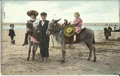 """Greeting Postcard - """"Our Pets"""" - Children with Donkey on the Beach"""