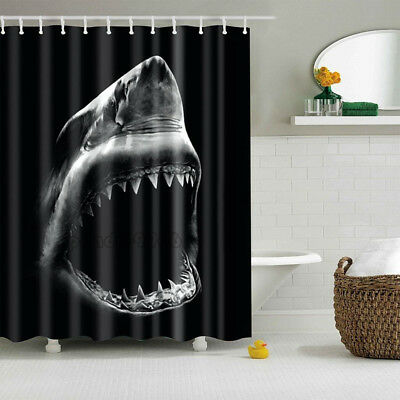 Shark 3D Printing Polyester Waterproof Bathroom Shower Curtain With 12 Hooks