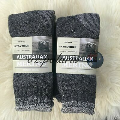 6 Pairs Size 11-14 Heavy Duty Australian Merino Extra Thick Wool Work Socks Grey
