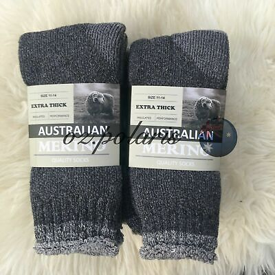 6Pairs Size 11-14 Heavy Duty Australian Merino Extra Thick Wool Work Socks Brown