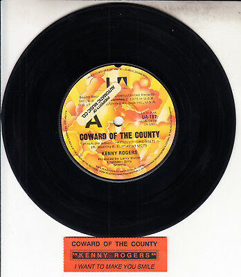 """KENNY ROGERS  Coward Of The County 7"""" 45 rpm vinyl record + juke box title strip"""