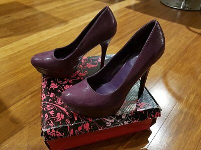 Qupid 'mineral-01' Stiletto Heel Shoes - Purple Crinkle - Size 9