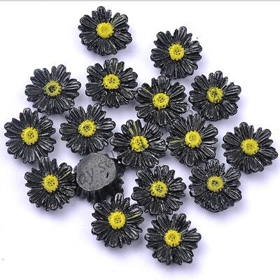 20Pcs Gorgeous Black Sunflower Coral Spacer Beads 14MM