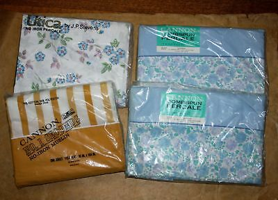 Lot of 4 Vtg Sheet NOS Flat Cannon Canterbury Romantic Floral & Stripe