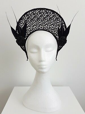 Miss Halo womens black lace halo style fascinator with feathers and flowers