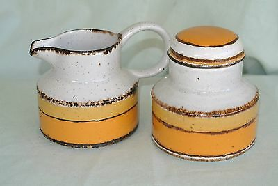 3 Pc.Vtg Midwinter Stonehenge Sun Creamer & Covered Sugar-England