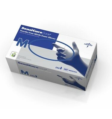 Medline MSG6802 SensiCare Ice 250 Nitrile Exam Glove Powder Free Sz M - 250 pcs