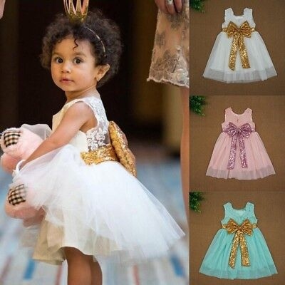 Infant Kids Baby Girl Sequin Bow Lace Party Birthday Wedding Princess Tutu Dress