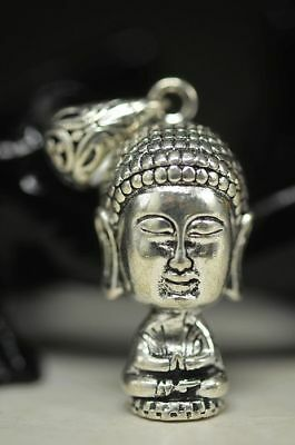 Collectible Chinese Tibet Silver Carve Baoabo Buddhism Amulet Pendant