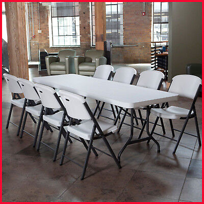 [No Tax] Lifetime Combo - 8' Table and (8) Folding Chairs, White