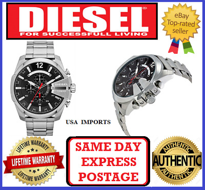171501d264e2 DIESEL DZ4308 Mega Chief Men s Black Dial Stainless Steel Chronograph Band  Watch