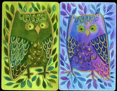 Green And Purple Owls Swap/playing Cards X2 Very Beautiful (Brand New)