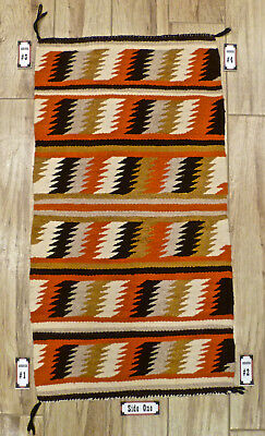 "Authentic Vintage Nicely Woven Navajo Blanket/Rug 19""x37"" Beautiful Condition!"