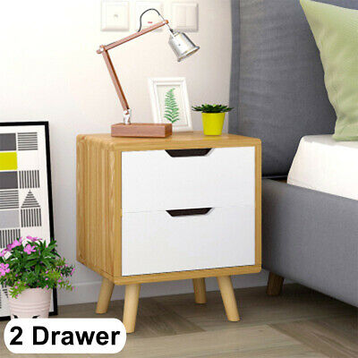 2 Drawer Chic Nightstand Bedside Cabinet Wooden Small Storage Table White