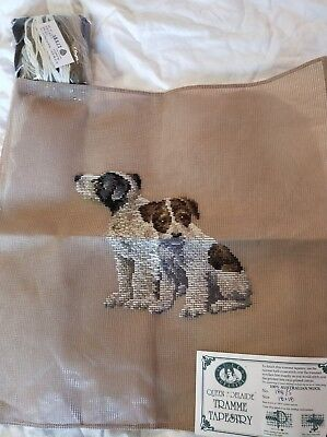 BRAND NEW QUEEN ADELAIDE Trammed TAPESTRY CANVAS & WOOL 2 PUPPIES 188/5