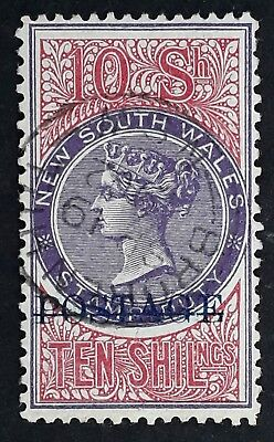 Rare 1885- NSW Australia 10/- Mauve&Claret Duty stamp Postage O/P in Blue Used