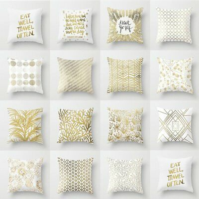 Gold Foil Printing Letters Sofa Pillow Case Cushion Cover Home Decoration N2