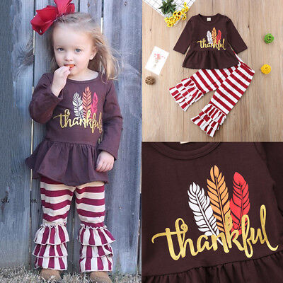 US Kid Baby Girl Thanksgiving Dress Tops Stripe Ruffle Long Pants Outfit Clothes
