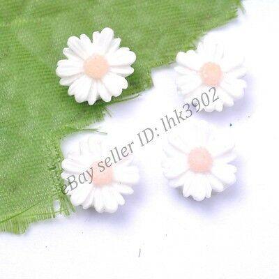 20Pcs Gorgeous White Sunflower Coral Spacer Beads 14MM