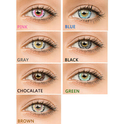 1 Pair Unisex Multicolor Circle Colored Contact Lenses Yearly Use Con Clase