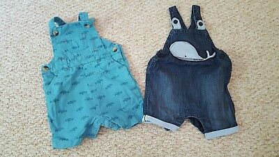 Baby Boy Two Pairs of Summer Short Dungarees 3-6 Months Cath Kidston and Next